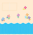 beach stuff with sport court and sea paradise vector image vector image