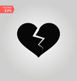 broken heart icon love symbol modern flat vector image