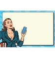 Businesswoman with smartphone in hand vector image vector image