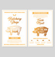 butchery shop poster with pork meat cutting charts vector image