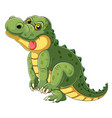 cartoon a big alligator with tongue hanging out vector image vector image