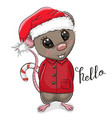 cartoon rat in santa hat on a white background vector image vector image