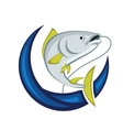 Catching Fish Emblem vector image vector image