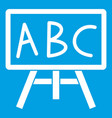 chalkboard with the leters abc icon white vector image vector image