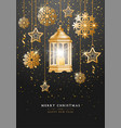 christmas and new year design with golden vector image vector image