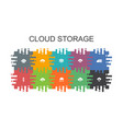 cloud storage cartoon template with flat elements vector image