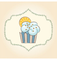cupcake with orange slice vector image
