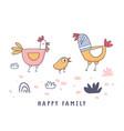 cute cartoon rooster chicken hen family doodle vector image vector image