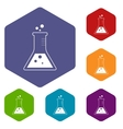 Experiment rhombus icons vector image vector image