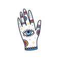 female magician hand with all seeing eye vector image