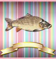 fish realistic background and gold ribbon vector image