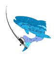 fishing rod and fish vector image vector image