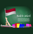 flag of indonesia on black chalkboard background vector image vector image