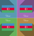 Flags Azerbaijan Set of colors flat design and vector image