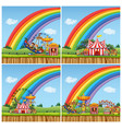 four scenes with children riding rides in the vector image vector image