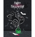 Halloween greeting card with ghost bottle skull vector image