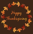 happy thanksgiving with leaf wreath vector image vector image