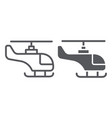 helicopter line and glyph icon transportation and vector image vector image