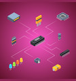 isometric microchips electronic parts icons vector image vector image