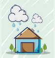 liner house with clouds raining weather vector image vector image