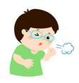 little boy coughing cartoon vector image vector image