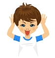 little boy making mocking expression with hands vector image vector image