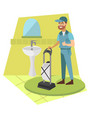 man vacuum cleaner in bathroom vector image vector image