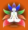 meditating human in lotus pose yoga vector image