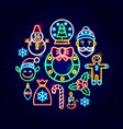 merry christmas neon concept vector image vector image