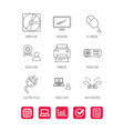 Monitor printer and wi-fi router icons