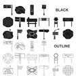 road junctions and signs black icons in set vector image