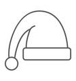 santa hat thin line icon christmas and clothing vector image vector image