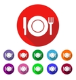 Set of colored icons with a plate vector image vector image