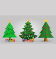 set of cute cartoon christmas fir trees on vector image