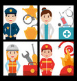 set of people worker profession card vector image vector image