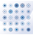 Set of sky blue snowflakes vector image vector image