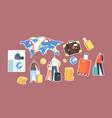 set stickers passport control worker tourists vector image