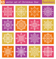 Set with christmas star over color backgrounds vector image