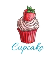 Strawberry cupcake or muffin sketch vector image vector image