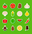 summer vegetables stickers vector image