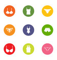undergarment icons set flat style vector image vector image