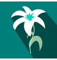 White lily icon flat style vector image vector image