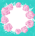 wreath of pink roses flowers on green background vector image vector image
