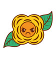 yellow flower kawaii cartoon natural vector image vector image