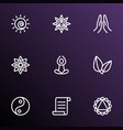 yoga icons line style set with yoga mandala vector image