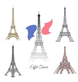 Hand drawn Eiffel Tower in Paris vector image