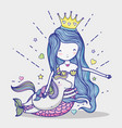 little mermaid with unicorn art cartoon vector image