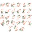 Floral Monogram Flowers Alphabet Floral Alphabet vector image