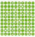 100 athlete icons hexagon green vector image vector image