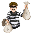 A robber with two sacks of cash vector image vector image